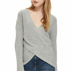 TopShop Wrap Over Front Rib Sweater Top Longsleeve